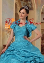 New Style Taffeta Teal Quinceanera Jacket with Open Front ACCJA040FOR