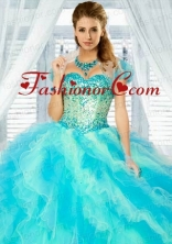 Newest Baby Blue Organza Bolero Quinceanera Jackets with Ruffles ACCJA035FOR