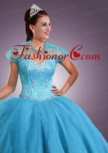 Newest Baby Blue Tulle short Quinceanera Jacket with Beading and Sequins ACCJA070FOR