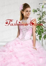 Popular Baby Pink Organza with Beading Sleeveless Quinceanera Jacket ACCJA101FOR