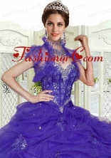 Purple Organza Special Occasion Wedding Bolero with Ruffles and Open Front ACCJA072FOR
