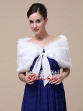 Rabbit Fur Special Occasion  Wedding Shawl  In Ivory With Off The Shoulder RR09150 (15)FOR