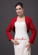 Red Satin Long Sleeves Jacket For Wedding Party AFEST179FOR