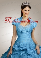 Special Beading and Ruffles Quinceanera Jacket with Ruching in Aqua Blue ACCJA076FOR