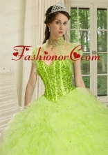 The Brand New Style  Beading and Ruffles Quinceanera Jacket in Spring Green ACCJA127FOR