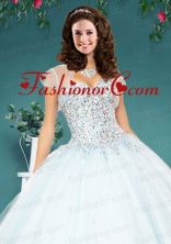 The Super White Tulle Special Occasion Quinceanera Jacket with Beading ACCJA108FOR