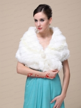 Top Selling Faux Fur Wedding Shawl With Lace V neck RR0915017FOR