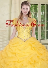 Top Selling High Quality Instock Yellow Quinceanera Jacket with Beading and Ruffles ACCJA126FOR