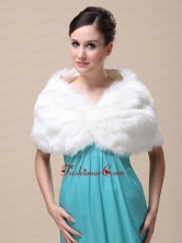 Unique Rabbit Fur Special Occasion   Wedding Shawl  In Ivory With V neck RR091504FOR