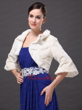 White Faux Fur Open Front Fold over Collar Prom Jacket RR0915031FOR