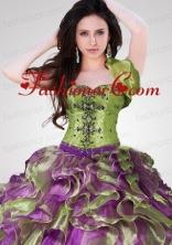 Wonderful Ruffles Organza Olive Green Quinceanera Jacket ACCJA096FOR