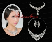 Alloy Wedding Jewelry Set Including Necklace And Earrings in Silver ACCJSET226FOR