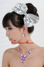 Alloy With Elegant Rhinestone Jewelry Set Including Necklace And Colorful Bowknot ACCJSET216FOR