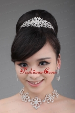 Alloy With Luxurious Rhinestone Jewelry Set Including Crown Necklace And Earrings ACCJSET017FOR