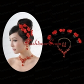 Attractive Necklace and Earing Wedding Jewelry Set with Hairpins ACCJSET209FOR