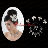 Bowknot Pearl and Rhinestone Necklace Earring Jewelry Set ACCJSET196FOR