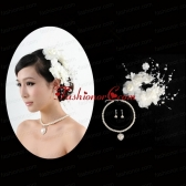 Charming Jewelry Set with Headpiece Immitation Pearl Necklace And Earrings ACCJSET201FOR
