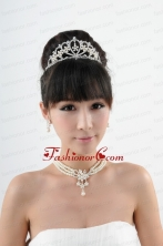 Dignified Crown with Wedding Jewelry Set Including Necklace And Earrings ACCJSET211FOR