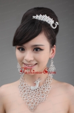 Dignified Jewelry Set Including Necklace Crown And Earrings In Phoenix Shape ACCJSET009FOR