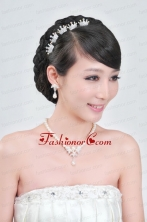 Elegant Alloy With Pearl Wedding Jewelry Set Including Necklace Earrings And Headpiece ACCJSET116FOR
