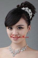 Flower Shape Rhinestone Jewelry Set Including Necklace Earrings And Earrings ACCJSET005FOR