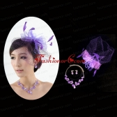 Graceful Purple Rhinestone Necklace And Earrings Wedding Jewelry Set ACCJSET200FOR