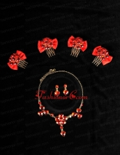 Heart In Heart Red Artistic Jewelry Set Including Necklace And Headpiece ACCJSET177FOR