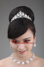 High Quality Rhinestone Dignified Ladies Necklace and Tiara ACCJSET023FOR
