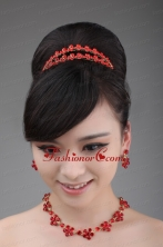 Red Rhinestone Wedding Jewelry Set Including Necklace Crown And Earrings ACCJSET006FOR