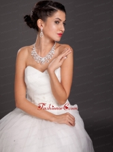 Shining Crystal Alloy Plated Wedding Jewelry Set Including Necklace And Earrings JDZH078FOR