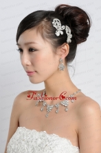 Shining Rhinestones Alloy Wedding Jewelry Set Including Necklace And Earrings ACCJSET223FOR