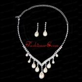 Splendid Big Drop Pearl Ladies Necklace And Earrings Jewelry Set ACCNES20FOR