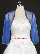 2014 Discount Royal Blue Long Sleeves Wraps with Beading JSA014FOR