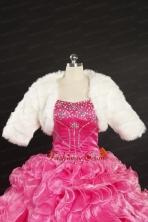 2014 Elegant Rabbit Fur White Long Sleeves Wraps JSA010FOR