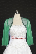 2014 Fall Long Sleeves Organza Wraps in Green JSA014-23FOR