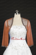2014 Fashionable Rust Red Long Sleeves Wraps with Beading JSA014-12FOR