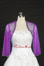 2014 Fuchsia Beading Wraps with Long Sleeves JSA014-24FOR