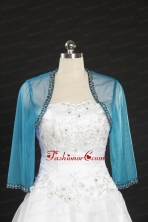 2014 Simple Blue Long Sleeves Wraps with Beading JSA014-26FOR