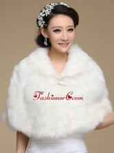 2015 Ivory Faux Fur Shawl With Button Front Closure ACCWRP008FOR
