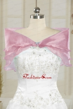 Beautiful Baby Pink Wedding Party Shawls with Beading JSA001-35FOR
