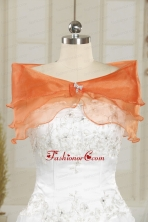 Beautiful Organza Beading Orange Shawls for Wedding JSA001FOR