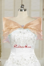 Champagne Open Front Organza Beading Shawls for Wedding JSA001-12FOR