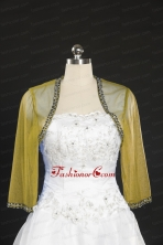 Discount Beading Long Sleeves Olive Green Wraps for 2014 JSA014-15FOR