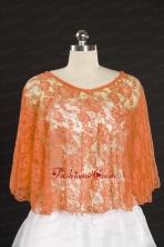 Elegant Orange Beading Lace Wraps for 2014 JSA005-4FOR