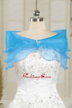 Fall Organza Beading Shawls in Baby Blue JSA001-20FOR
