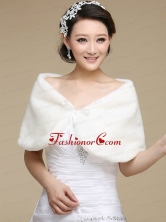 Formal Faux Fur White Wraps for 2015 ACCWRP039FOR
