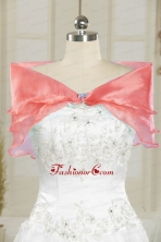 Formal Organza Watermelon Shawls with Beading JSA001-11FOR