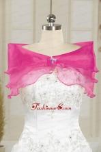 Hot Pink Pretty Organza Beading Shawls for Wedding JSA001-29FOR