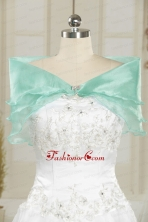 Ice Blue Organza Beading Shawls for Wedding JSA001-16FOR