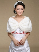 Modern Pearl Front Closure Faux Fur Wraps for 2015 ACCWRP012FOR